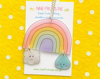 Kawaii April showers large necklace in pastel - rainbow, cloud and raindrop