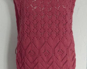 Poncho - Tunic with fringe - women size 38/40 - raspberry pink wool - knitted with openwork - Point gift fashion was the mother's day wedding
