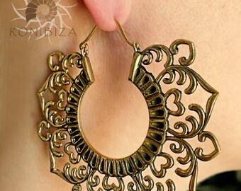 Brass Earrings - Brass Hoops - Gypsy Earrings - Tribal Earrings - Ethnic Earrings - Indian Earrings - Tribal Hoops - Indian Hoops (EB88)