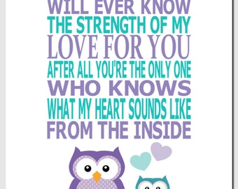 Owl Nursery Art, Purple Aqua Teal, Kids Wall Art, Children's Room, Baby Girl, No One Else Will Ever Know the Strength of My Love, Art Prints