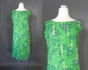 vtg 60s Tiki Dress , Hawaii Polynesian Green 1960s  Print Sheath Dress- M