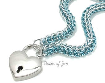 BDSM Chainmail Slave Collar Aqua Blue and Silver with Heart Shaped Padlock