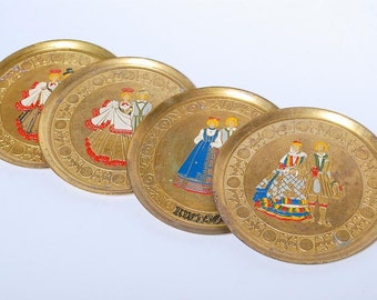 SALE... Set of 4 Vintage Brass Tray, National Dress (CI049)