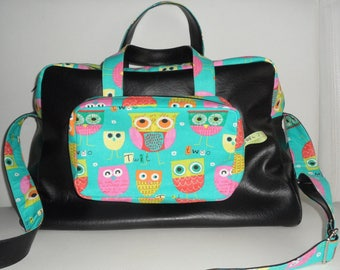 Stunning bag diaper bag, travel, faux leather and fabric or pattern owls, 4 pockets, beautiful finishes