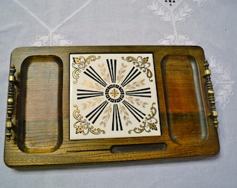 Vintage Cheese Tray Wood with Handles Ceramic Insert Gold Black White Japan PanchosPorch