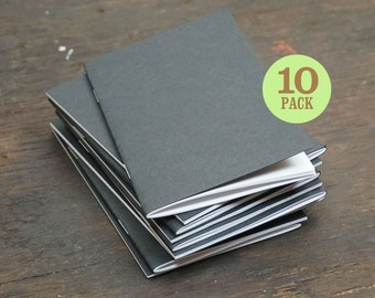 Bulk Black Kraft Notebooks, 3.5 x 5.5 Inch, Blank Unlined Page Notebook. Great as Notebook, Sketchbook, or Small Unlined Journal. Set of 10.