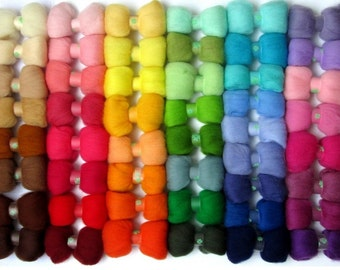 50 colors needle felt wool, needle felting wool, wool felt supply, 5g each, felting supply, wool craft
