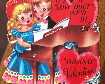 Grand Piano Vintage Valentine Card Love Duet Boy and Girl