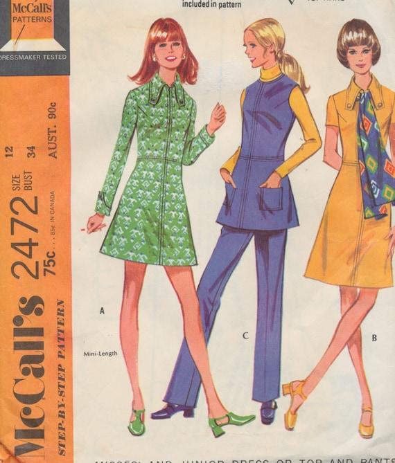 Ladies Sewing Pattern - Vintage 1970 McCalls - Ladies Dress, Top and ...