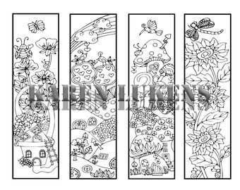 Happyville Bookmarks, 4 different bookmards for you to color, 1 Adult Coloring Book Page, Printable Instant Download