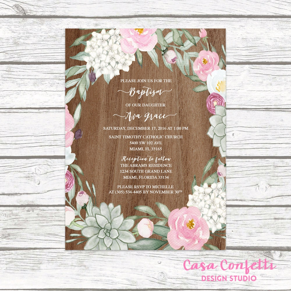 Rustic baptism invitation girl succulent christening invitation rustic baptism invitation girl succulent christening invitation girl first communion invite floral baptism boho baptism printable solutioingenieria Choice Image
