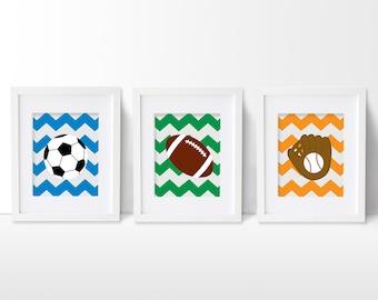 Sports Nursery Art Print Set, Soccer Nursery, Football Nursery, Sports Nursery Decor, Sports Artwork, Sports Wall Art, Baby Boy Art