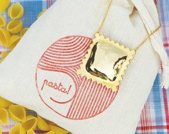 Ravioli Necklace-18k gold plated