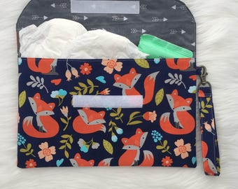 Fox diaper clutch, easy to wipe out laminate inside! Option of matching changing mat!