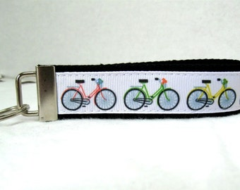 Bicycles Key Fob -  BLACK - Bike Key Chain -  Wrist Style Key Chain - Key Ring - Ready to Ship
