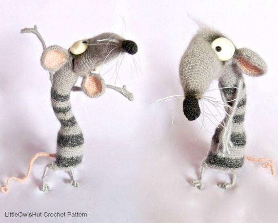 090 Funny Rat Serafima with wire frame Amigurumi Crochet