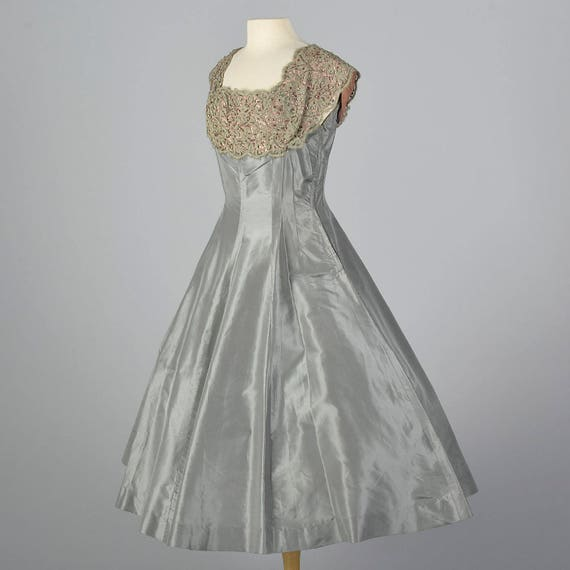 Taffeta Cocktail Full Bodice Waist Dress Up Fitted 1950s Lace Evening Party Medium Dress Vintage Short Gray Pin 50s Sleeves Skirt REXqWcO