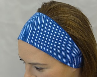 Reversible headband, white polka on blue, handmade in Scotland- soft, stretch fabric, patterned headband, girls headband, headband for women