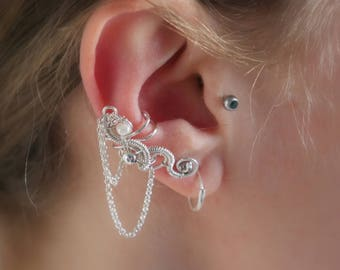 Sterling silver ear cuff with Freshwater pearl, bridal ear cuff, chain ear cuff, bridal pearl ear cuff