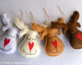 Set of 4 Reindeers - Christmas ornaments