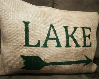Burlap Pillow, Burlap Lake Pillow, Lake Pillow, Cabin Pillow, Outdoors Pillow, Arrow Pillow, Cabin Decor, River Lot, Camping, Cabin