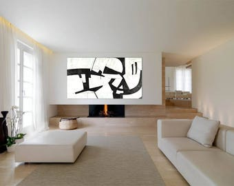 Extra Large Abstract Custom Linen Canvas Painting Black and White Acrylic Original Modern Contemporary Minimalist Wall Art  Huge