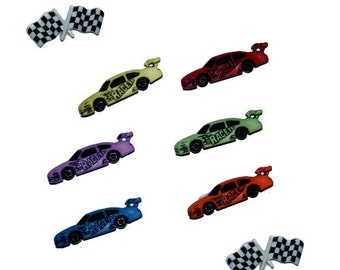 Jesse James Button Dress It Up Start Your Engines Novelty Sewing Buttons Race Cars Checkered Flags