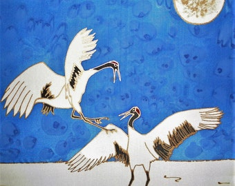 Hand Painted Silk Wall Hanging 12x12 - PLAYING in the SNOW, Japanese Cranes