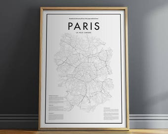 Minimal Paris Map Poster, Black & White Minimal Print Poster, Art, Home Art, Minimal Graphics, Paris Poster, Map Home Decor