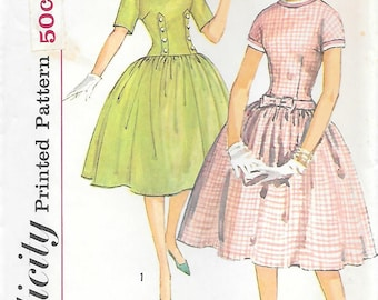 Simplicity 3514 UNCUT 1960 Dropped Waist Gathered Skirt Dress with Bow and Button Detail Vintage Sewing Pattern Bust 31.4 Rounded Collar