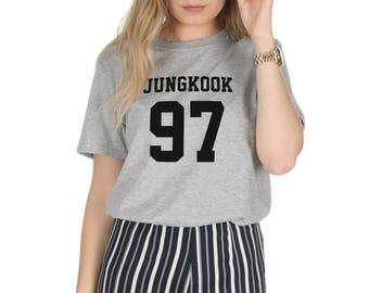 Jungkook 97 T-shirt Top Shirt Tee Fashion KPOP Band Fangirl BTS Jungshook