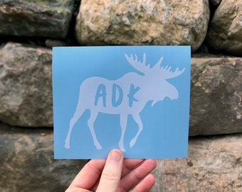 ADK in Moose Silhouette Decal / Adk Silhouette Decal  / Hiking Decal / Camping / Mountain Sticker / Adk Decal / Adk Sticker / Moose Sticker