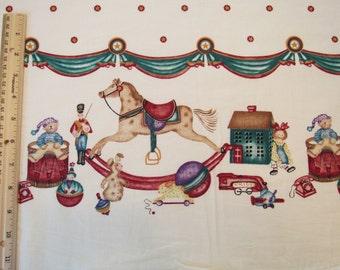 Nouveau demi verge «Cheval à bascule frontière» #26105 bordure Double jouet soldat tambour poupée Beige-passé et présent pour Daisy Kingdom 1996 USA fait - POO