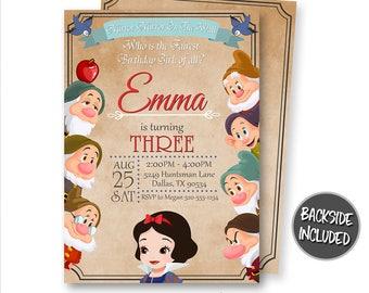 Snow White Invitation, Snow White Birthday Invitation, Snow White Party, Princess Snow White, Personalized, Printable, Seven Dwarfs, Invites