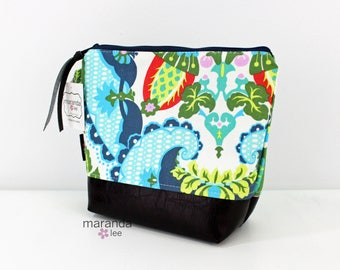 AVA Medium Clutch - Harriets Kitchen with PU Leather READY to SHIp Cosmetic bag Travel Make Up Zipper Pouch