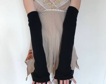 Trixy Xchange - Handmade Long Arm Warmers Black Arm Sleeves Covers Soft Gloves Plus Size Warm