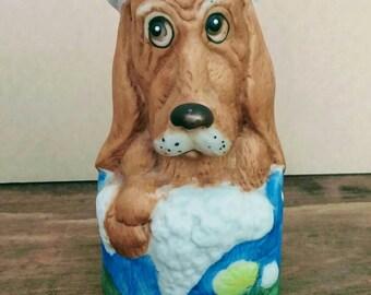 Vintage Basset Hound Jasco Critter Bell - Hound in Bathtub Collectible - Porcelain Bisque Collectible Bell
