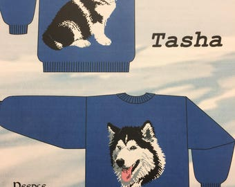 Knitting Sweater Pattern for Crew Neck sweater with Malamute Dog design