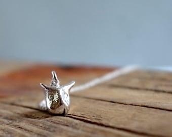 Totem Necklace Very Tiny Owl necklace, Woodland Jewelry, Animal jewelry, animal necklace, silver owl jewelry pendant W