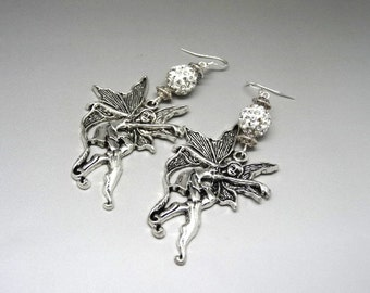 Elven earrings silver and white