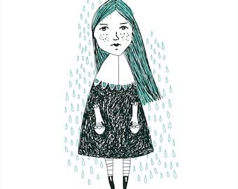 girl card illustration - svg - print