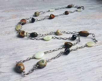 Jasper Stone and Faceted Glass Bead Necklace.  Silver chain.  Long Necklace.