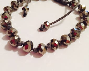 Silver / grey / pewter beaded bracelet