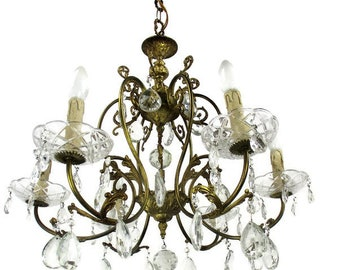 Ornate chandelier etsy brass ornate chandelier 6 arms lights prisms waterfall hollywood regency empire aloadofball Choice Image