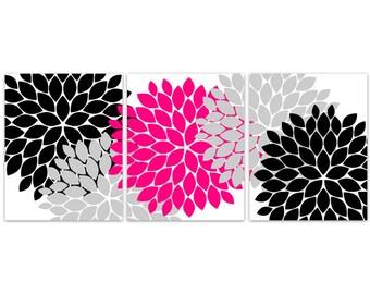 Home Decor CANVAS Wall Art, Hot Pink and Black Flower Burst Art PRINTS, Bathroom Wall Decor, Pink Bedroom Decor, Nursery Wall Art - HOME104