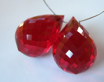 Pair of Gorgeous Chubby Red Quartz Faceted Focal Briolettes 18mm semi precious Gemstone Beads