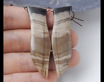 New,Wood Fossil with Obsidian Intarsia fashion women Earring Beads,53x15x6mm,13.7g-T029