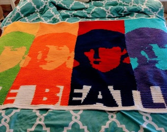 The Beatles Pop Art Crochet Blanket