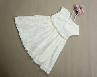 Flower girl dress Ivory flower girl dress rustic flower girl dress Lace flower girl dress Flower girl dress lace