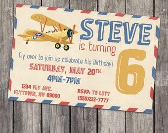Vintage Airplane Envelope / Birthday Digital Printable Invitation